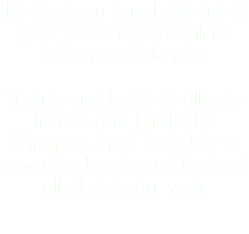 We give you a website link to your personalised online Advent e-Calendar. Having emailed it to all your friends and family this Christmas, they'll be able to open the boxes and find out all about your year.